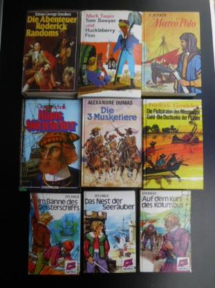 36 Kinderbücher zus. 10,- Bücher Abenteuer Klaus Störtebeker Onkel Toms Hütte Gullivers Reisen Das Dschungelbuch Die 3 Musketiere Tom Sawyer Huckleberry Finn Marco Polo Karl May Jugendbücher Jack London Mark Twain Alexandre Dumas