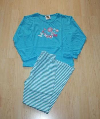 Mädchen Schlafanzug Kinder Pyjama Set lang langer Hausanzug blau/weiß Gr. 122/128 NEU