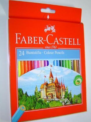 Faber Castell 24 Holzfarben Farbstifte Malfarben L 175mm Ø 7mm Holzstifte Hexagonalform - 217