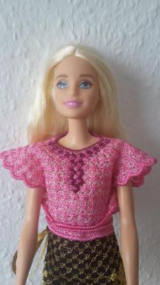 Barbie Wickelbluse pink rosa Puppensachen Puppenkleidung