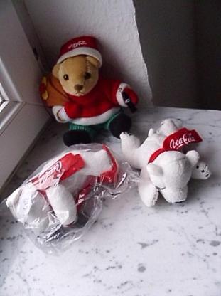 Coca-Cola Plüsch:  Bär Weihnachten Weihnachtsbär 2,- Eisbär je 1,50 Stofftier Kuscheltier Plüschtier