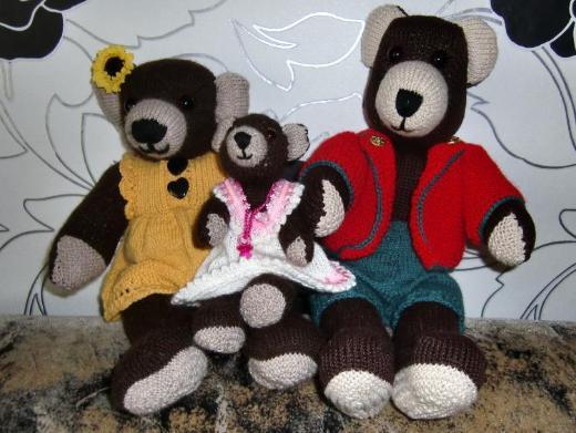 Bären Teddy Handarbeit Bären-Familie gestrickt