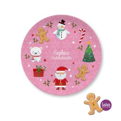 Nikolausteller, Weihnachtsteller, Plätzchenteller, personalisiert