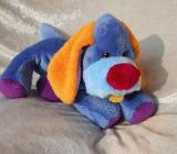 Blauer HUND lila orange KUSCHELTIER für Jungen Schlenkerhund handgemacht Unikat Plüschtier Welpe Kinderzimmer Wohndeko - Berlin