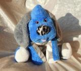 Blauer Hund für Jungen Kuscheltier Geschenkidee Geburt Taufe Zunge rausgestreckt handgemacht - Berlin