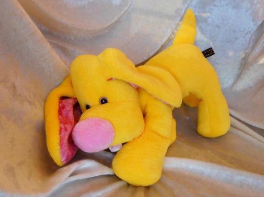 Gelber Zitronen Hund Cocker Spaniel Kuscheltier WOHNDEKO gelb rosa Dackel Schlenkerhund HANDGEMACHT