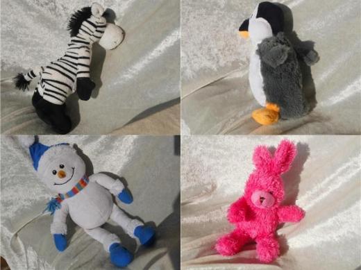 Kuscheltier Zebra Schneemann Puppe Plüschtier Pinguin Winter Stofftier kleiner Hase pink Mädchen