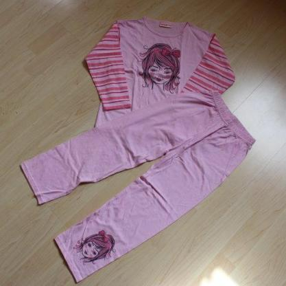 Mädchen Schlafanzug Kinder Pyjama Set lang 2tlg. Nachtwäsche langer Hausanzug rosa/pink 116 NEU