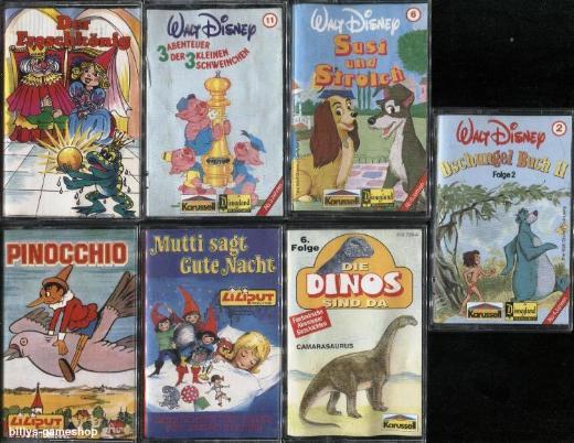 7 MC Hörspiele und Musik ! u.a. Pinocchio, Susi u. Strolch, Dschungel Buch !