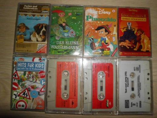 8 Kinder Kassetten Lindgren Preussler Disney Tom und Jerry Pinocchio Rolfs Schulweg-Hitparade Hits für Kids MC Hörspiele Retro Vintage 5,-