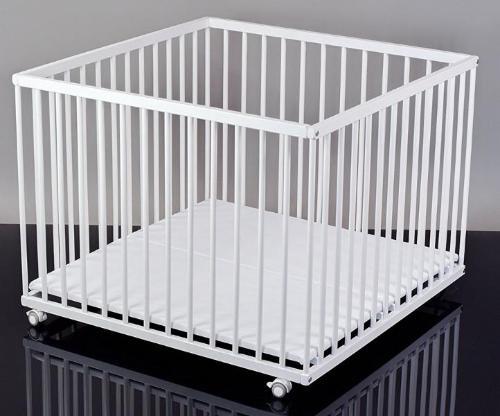 Laufstall/Laufgitter weiß lackiert, 100x100 Buche mit Matratze, quadratisch, TÜV geprüft (Sämann Kindermöbel)