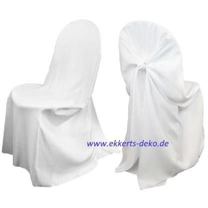 Verleih Satin Stuhlhussen in Weiß. Aktionspreis.
