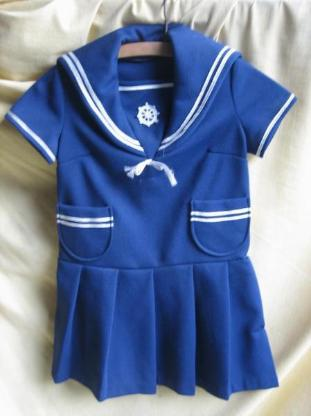 antikes dunkelblaues Mädchenkleid; Matrosenstil