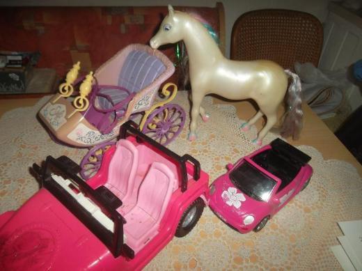 Barbie,Auto Kutsche,Pferd