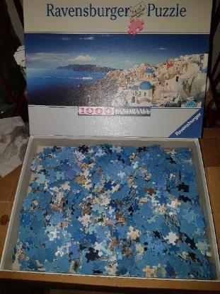 Ravensburger Puzzle Griechenland Santorini Panorama 1000 No. 151059 ca. 98 x 37,5 cm 2006 ISBN 4005556151059 VERKAUFSWARE