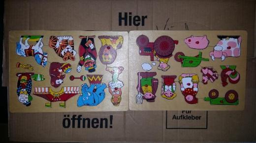 (2) Holzspielzeug für Kleinkinder Geschicklichkeit Puzzle Hand zu Augen Koordination circa 20 Jahre alt VERKAUFSWARE
