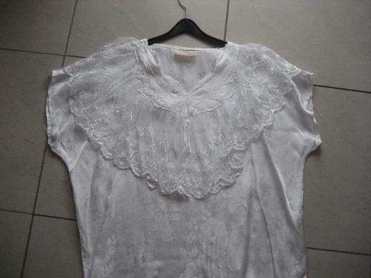 Damen Bluse, Top mit Spitze, weiß  von Cocos