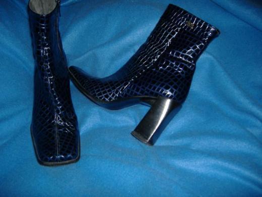 NEU* Elegante Damen Kroko- LEDER Stiefeletten/ Stiefel ''Buffalo'' Größe 37½ * 37,5 * 4½ * 4,5, dunkelblau *