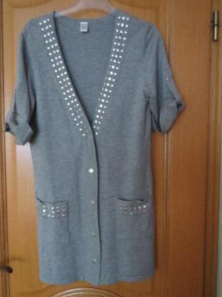 Strickjacke, long, Gr.36/38, grau, neu