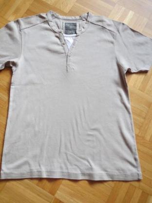 T-Shirt, Gr.40/M, Kurzarm, 2-in-1, taupe-weiß