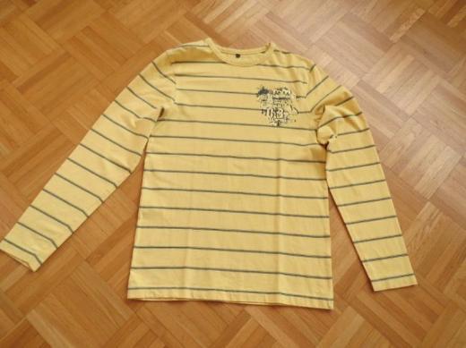 T-Shirt, Gr.38/S gesrteift, gelb-schwarz