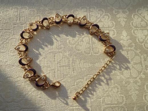 Armkette, Vintage, Kristallsteine