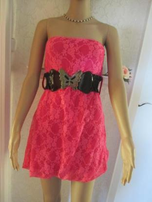 NEUw* Edles * Lace- Spitzen * Coktail * Bustier * Mini- Kleid mit Gürtel * Gr. 34- 36/ XS- S, pink *