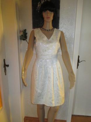 "NEU* Elegantes * Coktail * Abend * Glitzer-Brokat * Mini-Kleid ""CYNTHIA ROWLEY"" Gr. 36- 38/ S, weiß- silber *"