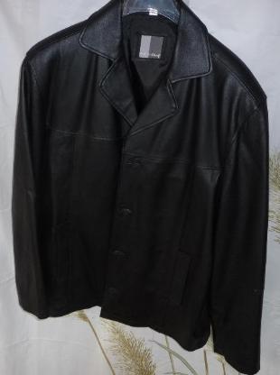 Lederjacke Herrenlederjacke Gr. 50, schwarz, gefüttert, mit 2 Außentaschen