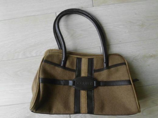 Damen Handtasche Tasche Stoff-Kunstleder braun 4,-