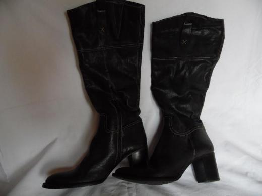 Damenstiefel Leder schwarz