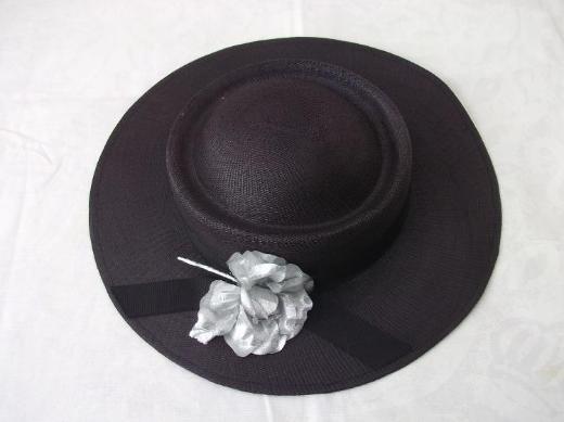 Damen strohhut / Anlass-Hut, dunkelbraun