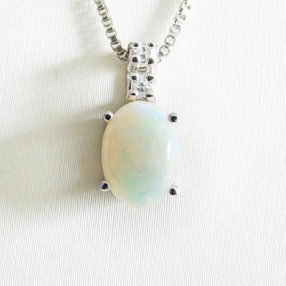 Anhänger Weißgold 585er weißer Opal Diamant Goldschmuck 6160