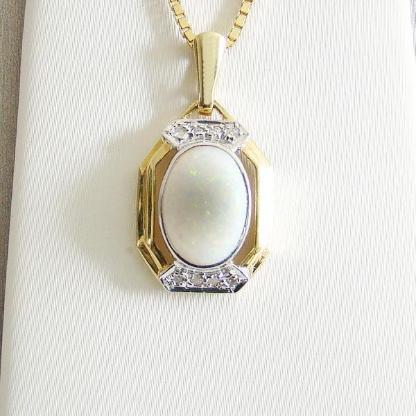 Anhänger Gold 585er weißer Opal Diamanten 14 kt Goldschmuck 6161