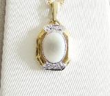 Anhänger Gold 585er weißer Opal Diamanten 14 kt Goldschmuck 6161 - Neumarkt in der Oberpfalz