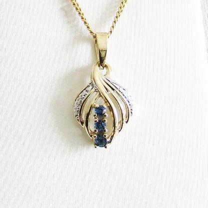 Anhänger Gold 333er Saphir Diamanten 8 kt Damen Goldschmuck 6163