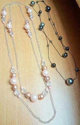 2 x Stück Modeschmuck Halsketten / Länge 130 cm + 150 cm