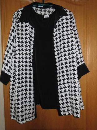 Bluse mit Top, Gr.50/XL, schwarz-weiß, neu