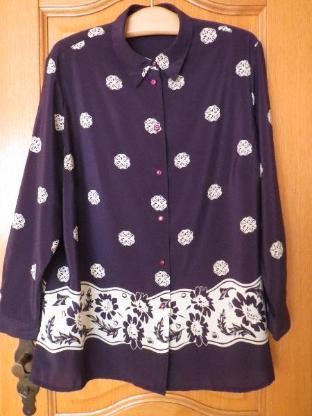 Bluse, Gr.50/XL, Langarm, Blumenprint