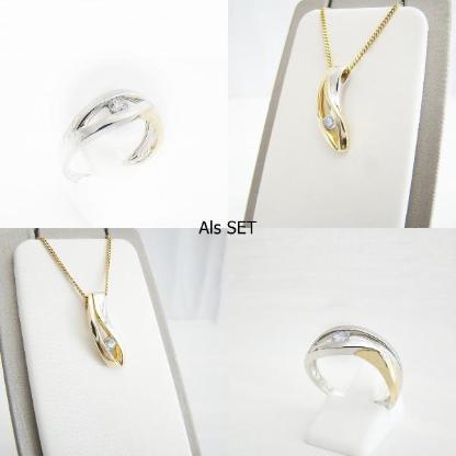 SET Anhänger Ring Gold 333er Zirkonia 8 kt Goldschmuck Damen 2030