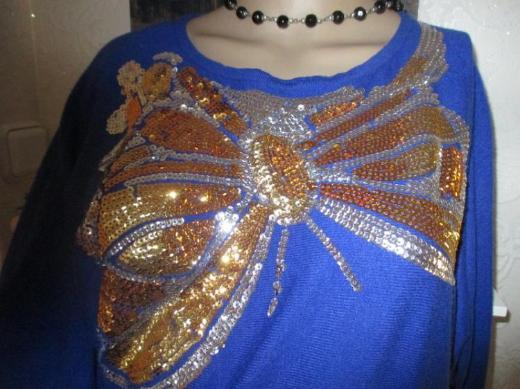 Cahsmeré * Pailetten * Mini- Kleid * Long- Pullover ''Best Emilie'' Gr. 36- 38, 40/ S- M * royal- mittel- blau *