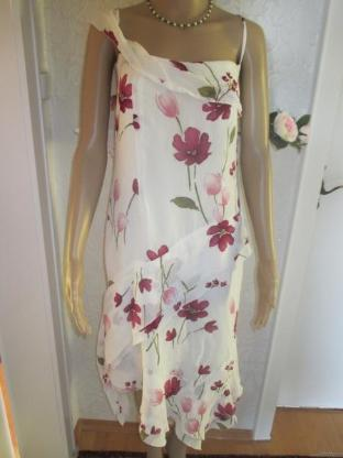 "NEU* Edles * Seiden- Crepè de Chine * Blüten * Flower * Zipfel * Träger- Kleid ""Lewinger"" Gr. 40- 42/ M * weiß- rosé *"