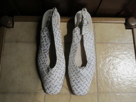 Schuhe, Slingpumps, Gr.39, weiß-beige, Leder