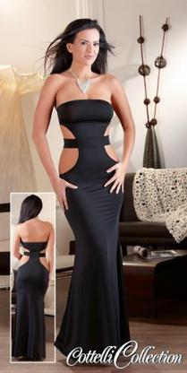 Damen Kleid lang trägerlos schwarz Maxikleid Abendkleid Cocktailkleid Tubekleid Etuikleid elegant Gr. S (36/38) NEU