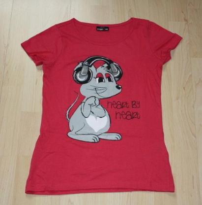 Mädchen Kurzarm T-Shirt Maus Kinder Glitzer Rundhals Sommershirt Kurzarmshirt Baumwolle pink Gr. 146/152