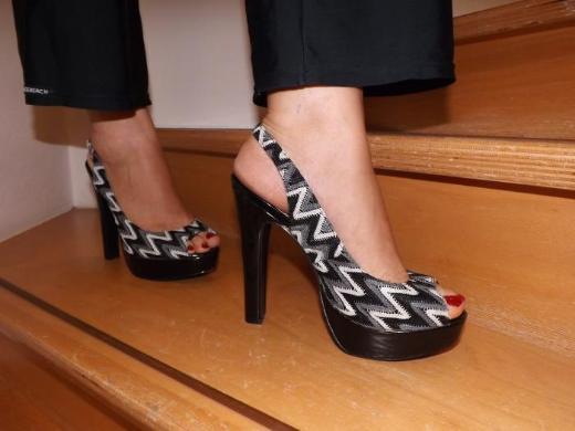 High-Heel Peep-Toe-Sling-Pumps, Größe 40, gebraucht
