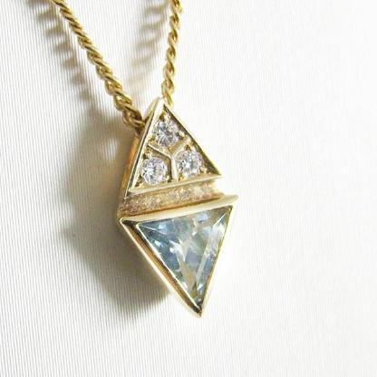Anhänger Gold 585er Aquamarin Diamant Edelsteine Damen 6148