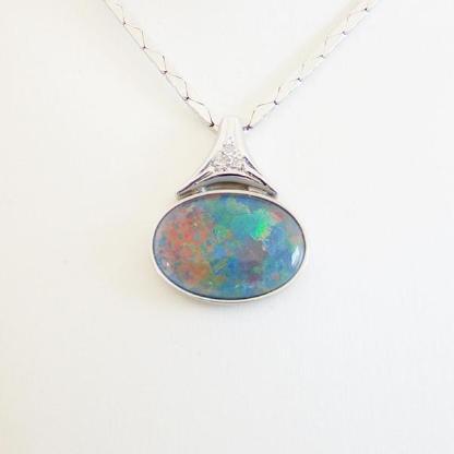 Collier Weißgold 585er Opal Diamanten 14 kt. Goldschmuck 4037