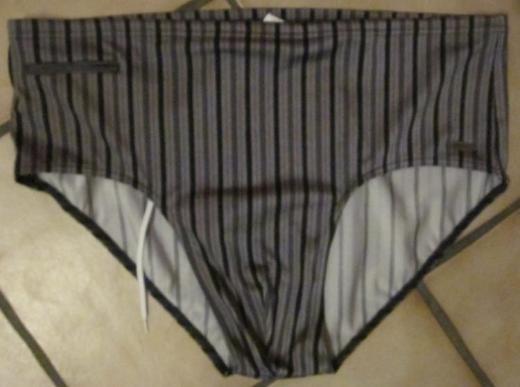 Gr. 8: Herren-Badehose mit Innentasche, grau/gestreift, BAHAMA, nur 2x getragen