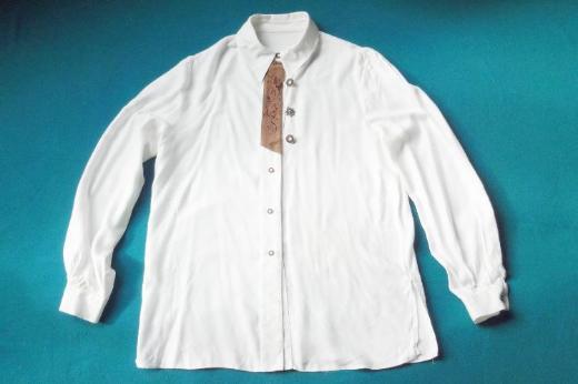 """Trachten Hemdbluse - Trachten Dirndl Hemd """"weiß"""" m. Lederbesatz Gr. 38/40"""